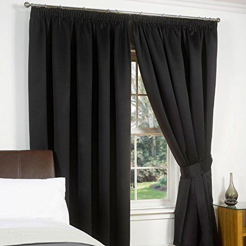 Just Contempo Tende plissettate oscuranti, Nero, 167,6x 137,2cm, Poliestere, Black, 90 x 90 Inches