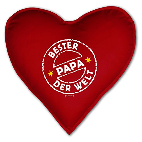 Cuore cuscino decorativo–bester papa il mondo. con timbri–kuscheliges in forma di cuore