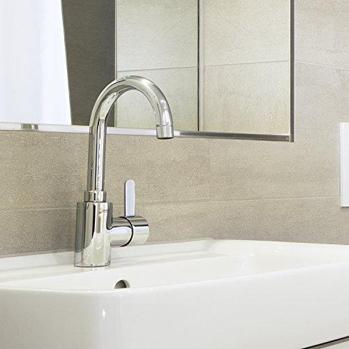 Grohe Eurosmart Cosmopolitan Waschtischarmatur, mit Zugstange, hoher Auslauf, Schwenkbereich 100°,Wasserhahn, Armatur, Waschtischarmatur, Waschbecken, Mischbatterie, Wasserkran (32830000) -