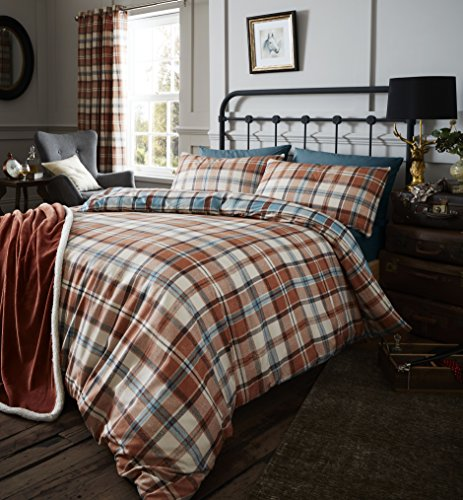 Catherine Lansfield Heritage Kelso Check Duvet Set, Spice, King