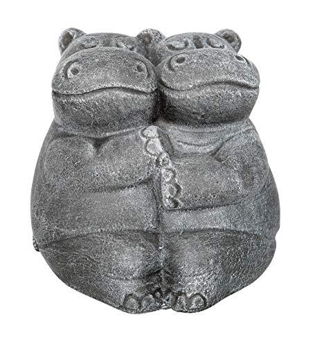 Steinfigur Nilpferdpaar Steinguss Schiefergrau, Figur, Deko, Garten (16 Süß Geburtstag Ideen)
