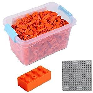 Katara Juego De 520 Ladrillos Creativos En Caja Con Placa De Construcción 100% Compatibles Con Lego Classic, Sluban, Papimax, Q-bricks, Color Naranja (1827)