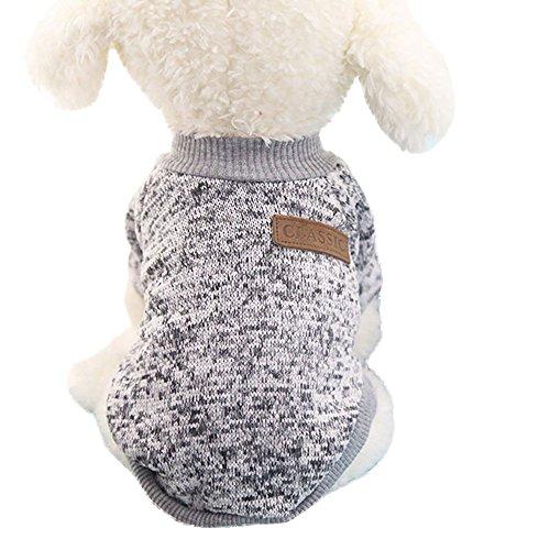Ularma Kleine Haustier Hund Pullover Soft Bequem Sweatshirt 8 Farben für Teddy Mops Bulldogge (L, Grau)