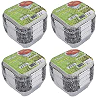 Freshee Pack of 4 x 25 pcs Aluminium Silver Foil Container 120ml| 100% Recyclable Food Storage Disposable Containers with Lid For Kitchen | Bacteria Resistant