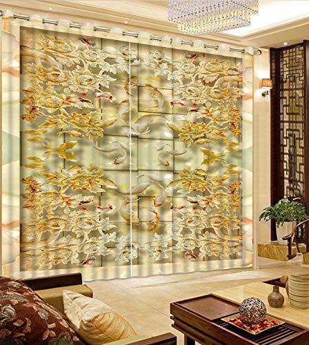Dengxiansheng Anpassen 3D Vorhang Blackout Für Schlafzimmer Wohnzimmer Jade Fliese Mosaik Fenstervorhang Home Decoration-H200Xw200Cm