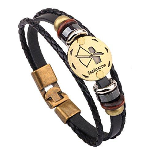 MJARTORIA Damen Herren Sternzeichen Armband Vintage Lederarmband Surferarmband Armreif Leder Geflochten Seil mit Perlen Sternbild (Schütze)