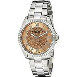 Stuhrling Shimmer 743.02 35mm Silver Steel Bracelet & Case krysterna Women's Watch