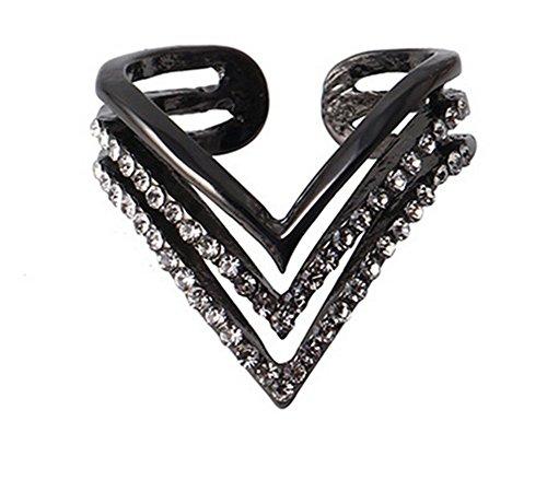 Cdet Offener, verstellbarer Ring, schlichtes Dreieck, Diamantring, Schmuck für Damen Schwarz