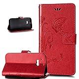HTC One M8 Hülle,HTC One M8 Schutzhülle,ikasus Prägung Groß Schmetterling Blumen Muster PU Lederhülle Flip Hülle Cover Schale Ständer Wallet Case Schutzhülle für HTC One M8,Rot