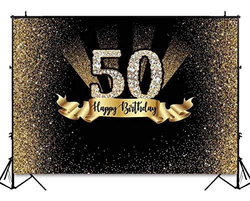 7 X 5 Foot Durable Fabric Gold and Black 50th Birthday Photography Backdrop