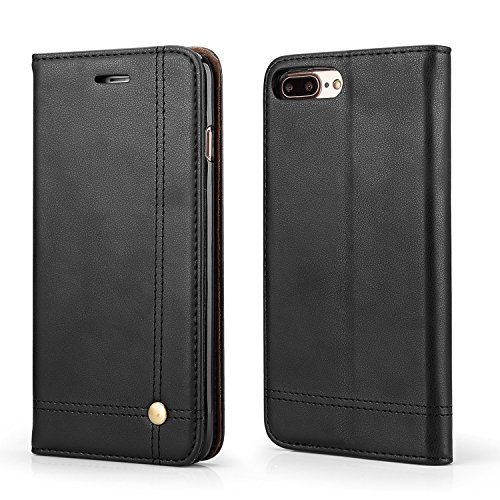 Leaf Apple iPhone 7 Plus Case, Flip Cover Royal Series Leather Case, Flip Cover for Apple iPhone 7 Plus Wallet Cases Book Cover Card Slot Money Pocket Stand Holder Magnet Closure Black