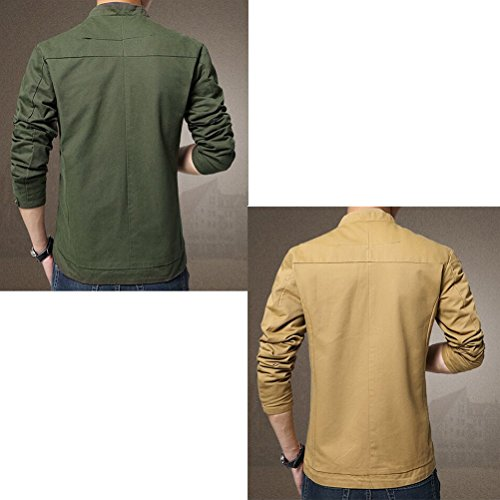 Zhhlinyuan Manteaux Men's Spring Thin Casual Cotton Coat Zipped Lightweight Jacket Solid Color Kaki