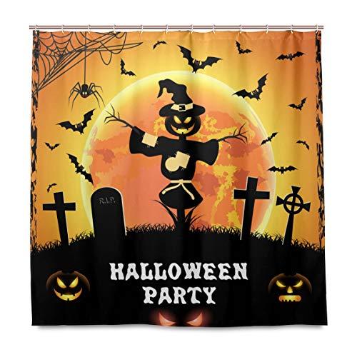 (Wamika Badezimmer Dusche Vorhang Halloween Kürbis Fledermaus Design Haltbarer Stoff Bad Vorhänge Schimmelresistent Wasserdicht Badezimmer 12Haken 183,0cm x183,0cm)