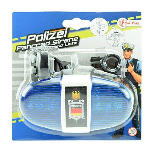 Toi-Toys 55008A - Fahrradlampe Polizei mit Sirene und Blaulicht - Fahrrad-polizei