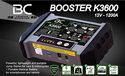 515VoXIm50L - BC Booster K3600-12V 1200A - Arrancador de Emergencia para Coche y Moto + Batería Portátil con USB 20000 mAh para Smartphones y Tabletas + Antorcha LED SOS