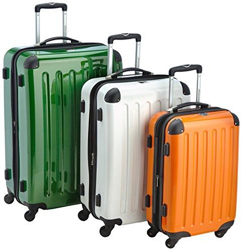 HAUPTSTADTKOFFER - Alex - 3er Koffer-Set Hartschale glänzend, (S, M & L), 235 Liter, Orange-Weiß-Grün