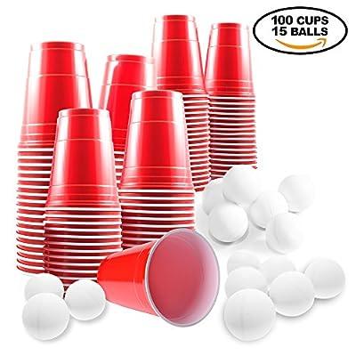 Ensemble Complet Gobelet Plastique Beer Pong - 100 Verre + 15 Balle - Parfait pour Soirée et Fête de Noël