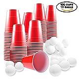Set de Beer Pong Americano – 100 Vasos Rojos y 15 Bolas de Pimpón – Juego de Mesa para de Adultos – Accesorio para Fiesta de Disfraces, Cumpleaños, Navidad – Articulo de Entretenimiento
