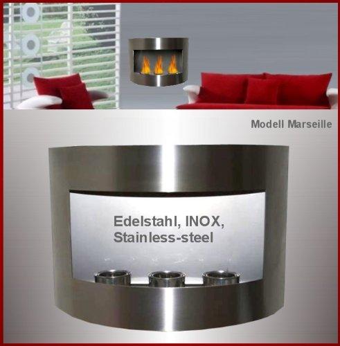 Marseille Schlafzimmer (Gelkamin & Bio Ethanol Kamin Modell Marseille - Komplett aus Edelstahl)