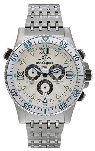 Xezo Air Commando D45 S - Reloj, Correa de Acero Inoxidable Color Plateado