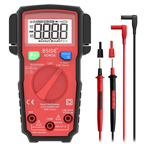 Bside ADMS6 Smart Digital Multimeter True RMS 6000 Counts, Auto-Ranging DMM Live Wire Check Hz V-Alert Elektriker Multi Meter Tester mit seitlichem Sondenhalter - Smart Wire