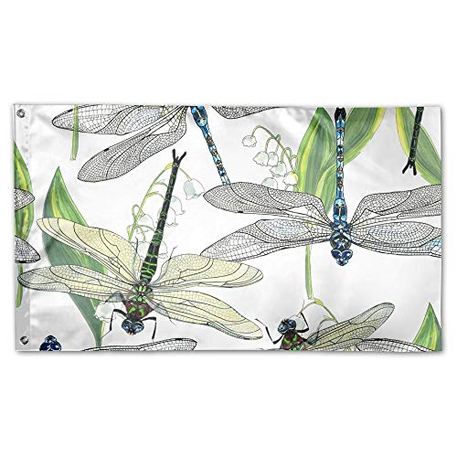 WEERQ Garden Flag Dragonflies Green Outdoor Yard Home Flag Wall Lawn Banner Polyester Flag Decoration 30x45CM -