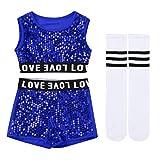iiniim 3Pcs Uniforme Scolaires Enfant Fille Déguisement Pom-Pom Girls Costume Danse Cheerleaders Jazz Hip-hop Performance Top Short Paillette Chaussettes Dancewear 4-14 Ans Bleu B 8-10Ans
