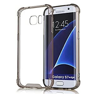 Elove Hard PC Soft TPU Non-Slip Grid Crystral Clear Ultra-Slim Shock Absorbing Case Cover, For S7 Edge, Black