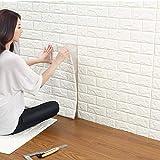3D Ladrillo Pegatina Pared,Papel Pintado Ladrillo Blanco 3d,Paneles de Pared,60x60cm DIY Autoadhesivo Etiqueta de Pared Decoración para Cuarto de Baño