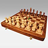 "A K Handicrafts 15"" X 15 Collectible Rosewood Wooden Chess Game Board Set"