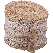 Generic Hessian White Lace Burlap Craft Ribbon For Vintage Wedding Home Décor