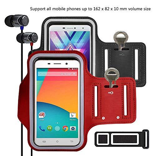 pinlu [2 Pack] Anti-Schweiß und Licht Sport Armband Fitness Für BlackBerry Bold 9780, BlackBerry Curve 8520, BlackBerry Bold 9000, Mit Schlüsselhalter, 5.5 Zoll Armband -(Rot+Schwarz)