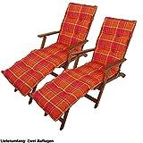etc-shop 2er Set Deckchair Auflagen kariert orange Liege Polster Polyester Baumwolle Garten Möbel Kissen