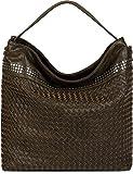 styleBREAKER Hobo Bag Handtasche mit Flecht-Optik und Nieten, Shopper, Schultertasche, Tasche, Damen 02012219, Farbe:Oliv