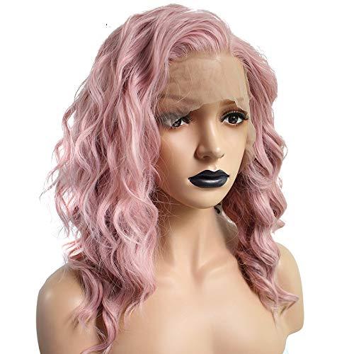 ZYC1 Hochtemperaturfaser 360 Frontal Lange Tiefe Welle Volle Haarperücken Rosa Synthetische Lace Front Perücke Für Frauen Mit Freiem Teil (Echthaar Mit Perücken Teil)