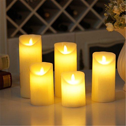 Velas pilares LED de cera auténtica con pilas sin llama llama parpadeante réaliste Déco casa, cera, beige, 7.5_x_12.5_cm