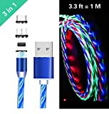 Ruibo Sike 3 in 1 magnetisches USB-Kabel, 2,4 A High Speed USB auf Micro USB Ladekabel - fließende LED Licht Up Android Ladekabel blau