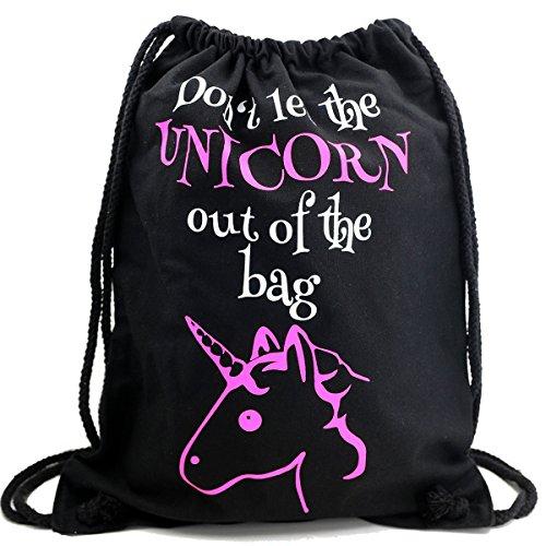 Imagen de premyo bolsa de cuerdas negra 100% algodón con dicho gracioso.  con cuerdas con impresión unicornio en rosa de alta calidad. gymsac con cordón. saco de gimnasio ideal para viajar alternativa