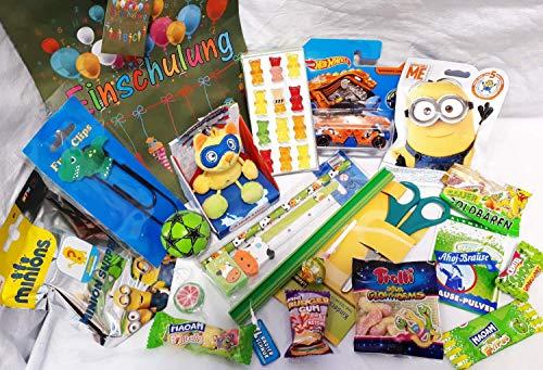 101618 Geschenktasche Schulanfang gefüllt für Jungs mit Hot Wheels Auto Minion Blindbag & Candy Schul Heroes Lesezeichen
