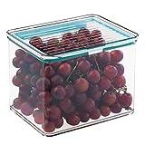 mDesign - Caja organizadora para almacenamiento de alimentos, para la alacena, tapa hermética con bisagra - 1,8 litros - Claro