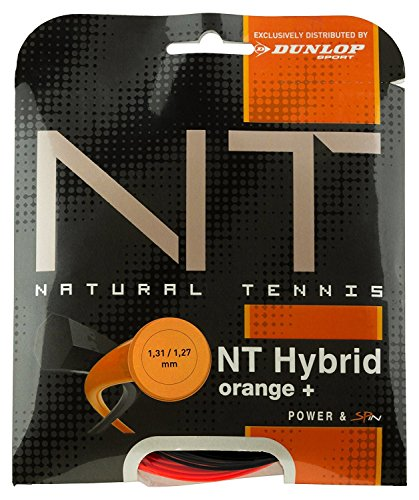 Dunlop Tac NT Hybrid Orange 1.31/1.27mm Tennissaiten, Schwarz/Orange, 1.39/1.27 mm