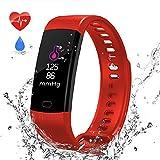 Fitness Armband, HIFINY Wasserdicht IP67 Fitness Tracker Pulsmesser Aktivitätstracker Smart Armbanduhr Schrittzähler mit Herzfrequenz Schlafmonitor (Rot)