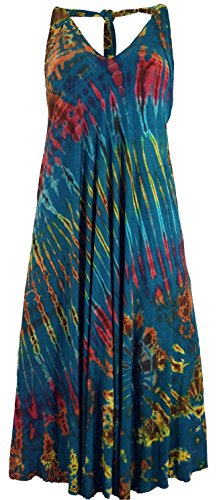 Guru-Shop Rückenfreies Batik Midikleid, Neckholder Boho Pixi Kleid, Damen, Petrol, Viskose, Size:38, Lange & Midi Kleider Alternative Bekleidung (Batik Neckholder)