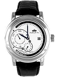 Lindberg & Sons Reloj automático para hombre con correa de piel color negro y de color blanco esfera analógica pantalla hq22248 W