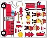 17 Pièces motif camion de pompier stickers mural 2x 16x26cm...
