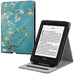 Fintie Étui pour Kindle Paperwhite (10ème génération - 2018 / Tous Les modèles) - Coque de Protection Multi Angles Housse Cover avec Mise en Veille Automatique, Blossom