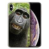 Stuff4 Coque Gel TPU de Coque Apple iPhone XS Max/Selfie Babouin Design/Animal Drôle...