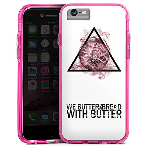 Apple iPhone 7 Bumper Hülle Bumper Case Glitzer Hülle We Butter The Bread with Butter Fan Article Merchandise Merchandising Pour Supporters Bumper Case transparent pink