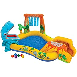 INTEX Aire de jeux gonflable Jurassic - 249 X 191 X 109cm Multicolore