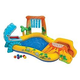 Intex- Playground Dinosauri, Multicolore, 249 x 191 x 109 cm, 57444